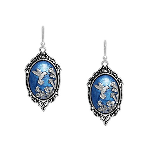 Persian Blue Hummingbird Trumpet Flowers Cameo Vintage Style Leverback Dangle Earrings in Silver Tone