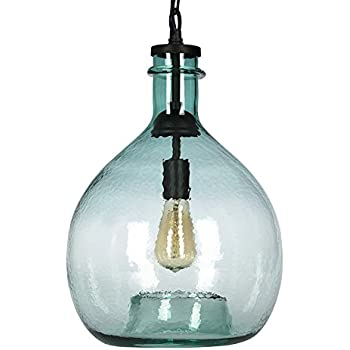 CASAMOTION Wavy Hammered Hand Blown Glass Pendant Light 1 hanging