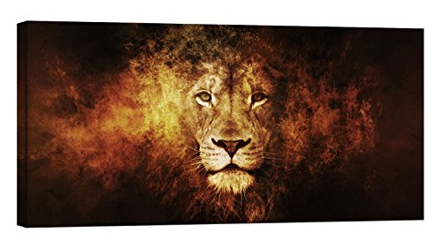 Painting on Canvas, Glow in The Dark Wall Art Framed Print, No Energy Use - Lion Head on Fire (32 x 16 inch)
