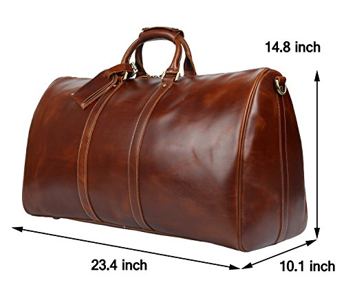 BAIGIO Men's luxury Leather Weekend Bag Travel Duffel Oversize Tote Duffle Luggage (Brown) by BAIGIO (Image #3)
