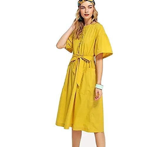 Color Un TTSKIRT Vestido S Yellow Mujer Recto Midi AIAqBxt1w