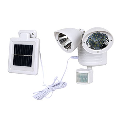 Dual Light Security Solar Motion Sensor 22 LED Lumens Outdoor Post Garden Floodlight - (Tilt White Earrings)