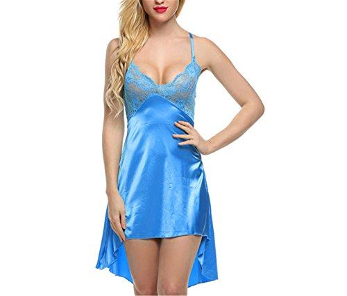 Price comparison product image JIANGTAOLANG Sexy Satin Lace Women Sleepwear Sleeveless V-Neck Sexy Nightdress Blue XXL
