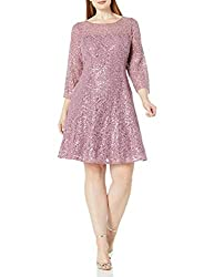Women's Lace and Sequin Fit Flare Dress
