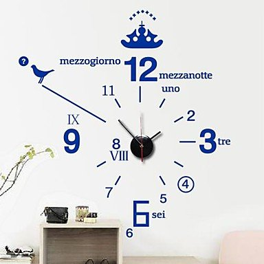PI pegatinas de pared de tatuajes de pared, inglés moderno simple reloj digital de pared