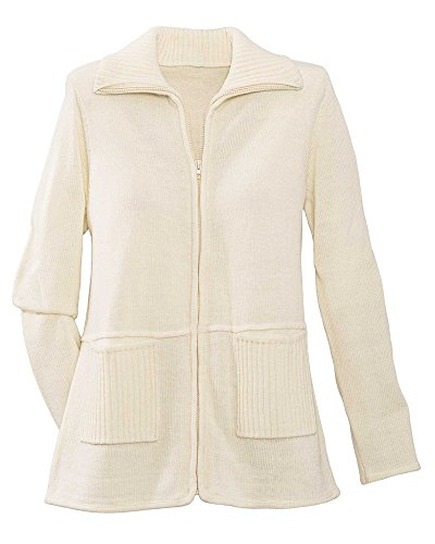 National Zip Front Cardigan Sweater, Ivory, Large (Front Sweaters Zip)