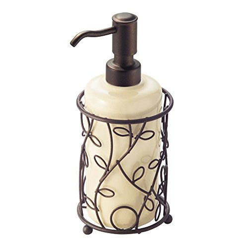 "iDesign Twigz Ceramic and Metal Liquid Soap Pump and Lotion Dispenser for Kitchen, Bathroom, Sink, Vanity, 4.5"" x 4.5"" x 8.5"", Vanilla and Bronze"