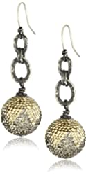 "Deanna Hamro Atelier Large ""Ombre"" 16mm Pave Ball Drop Chain Wire Earrings"