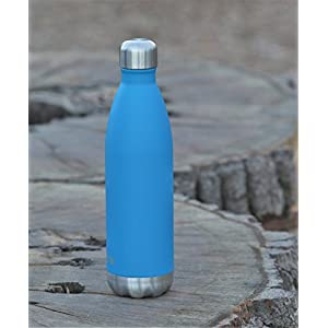MIRA 25 Oz Stainless Steel Vacuum Insulated Water Bottle | Leak-proof Double Walled Powder Coated Cola Shape Bottle | Keeps Drinks Cold for 24 hours & Hot for 12 hours | 750 ml Hawaiian Blue
