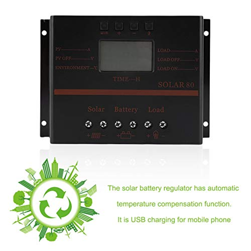 AMPM24US Solar Charger 12V 24V 80A LCD with USB Solar Battery Panel Regulator Discharge PWM Intelligent Solar Controller by AMPM24US (Image #2)