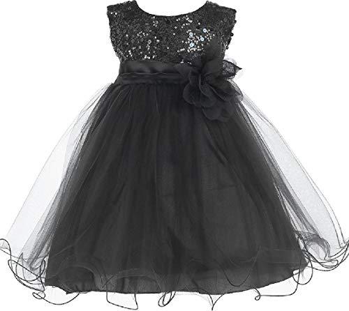 Little Baby Girls Sleeveless Sequin Glitter Little Baby Infant Toddler Flower Girl Dress Black Black Flower S (K31D5)