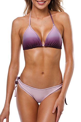 Sociala Halter Bikini Swimsuit For Women Two Piece Bathing Suit Purple S