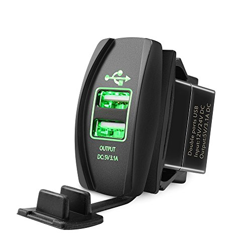 Mictuning Universal Rocker Style Car USB Charger - with Green LED Light Dual USB Power Socket for Rocker Switch (Green Led Usb)