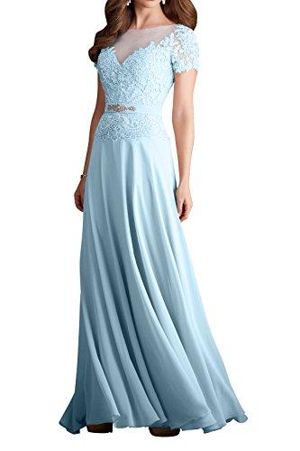 Damen Elegant Dunkel Charmant Lang Himmel Blau Partykleider Abendkleider Promkleider Champagner Blau Spitze Brautmutter d45RRp