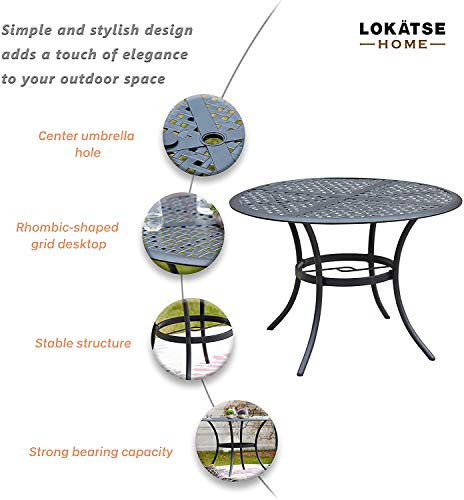Garden and Outdoor LOKATSE HOME 5-Piece Outdoor Patio Metal Dining Set with Iron Armrest Cushioned Chairs and Steel Round Table with… patio dining sets