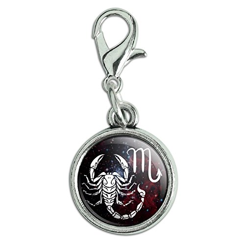 (Scorpio Scorpion Zodiac Sign Horoscope in Space Antiqued Bracelet Pendant Zipper Pull Charm with Lobster Clasp)