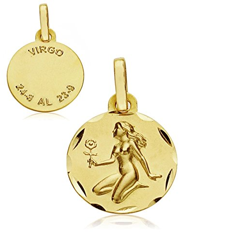 Médaille pendentif 18k horoscope Vierge 13mm. signe du zodiaque [AA7406GR] - personnalisable - ENREGISTREMENT inclus dans le prix