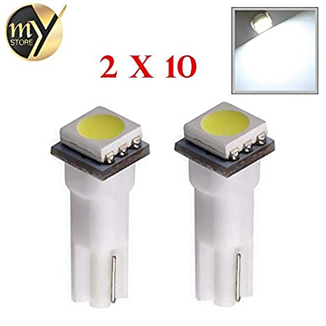 20pcs T5 74 White 1 Smd 5050 Dashboard Wedge Led Light Bulb Lamp Led Car Bulbs Interior Lights Car Light Source Parking 12v Signal Lamp