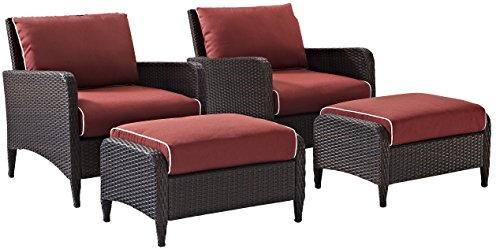 Crosley Furniture Kiawah 4-Piece Outdoor Wicker Seating Set with Sangria Cushions - Brown