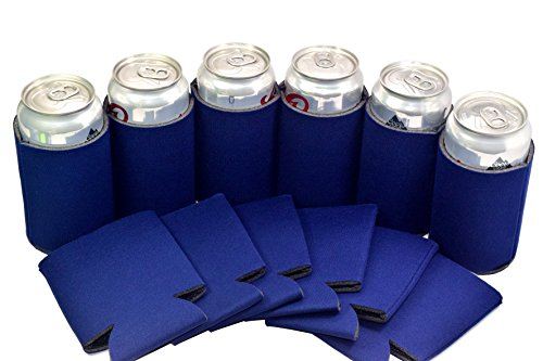 25 Navy Blue Blank Can Cooler Sleeve,Keychain Bottle Opener,Coolie For Can,Beer,Soft Drink,Economy Bulk,Collapsible Insulator,Good 4 Wedding,Parties (Soft Cooler Drink)