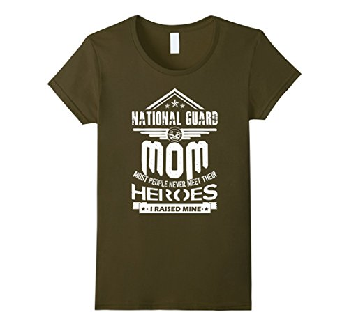 Womens National Guard Mom I Raise Mine Shirts Large Olive