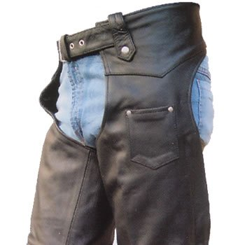 Mens Heavy Duty Drum Dyed NAKED COWHIDE Leather Motorcycle Chaps w inner-lining n YKK hardware