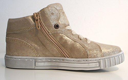 Pom Pom High Top Sneaker Halbschuhe Reißverschluss Leder gold