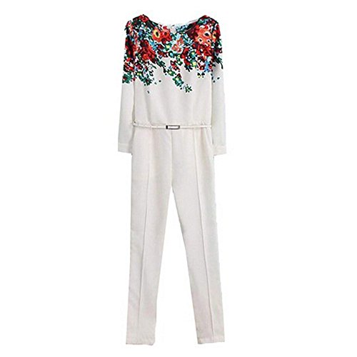 Fanala Womens New Vintage White Round Neck Long Sleeve Floral Pattern Slim Jumpsuits M