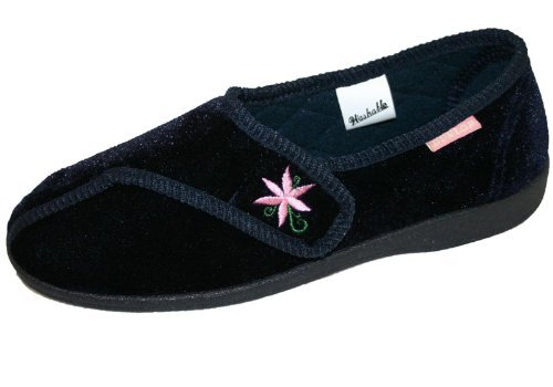 Dunlop Nora Womens Wine & Navy Soft Orthopaedic Velcro Close Slippers (4, Navy)