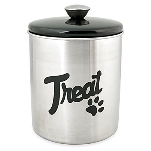 Buddy's Line Stainless Steel Top Treat Jar, 16 oz, Black