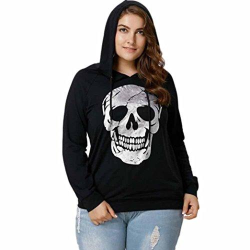 IEason Women Top, Womens Skull Print Tops Sweatshirt Hooded Plus Size Tops Blouse (XL, Black)