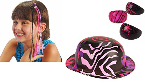 Rockstar Toy Party Favor Supplies 36 Piece Set for 12 Bundle Hats Rings Hair Braids ()