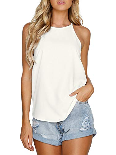 - THANTH Womens Tops Halter Sleeveless Tank Tops Sexy High Neck Summer Cami Tops Spaghetti Strap Shirts Casual Racerback Tops Basic Cute Junior Shirts Tops Blouses Ivory White XL