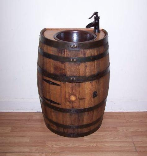 (Half Whiskey Barrel Vanity-Copper Sink-Bronze Faucet,Stopper-Access Door)