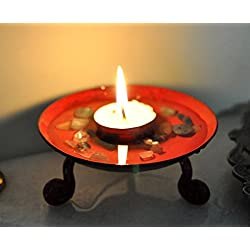 Lalhaveli Red Small Wrought Iron Pillar Candle Sta