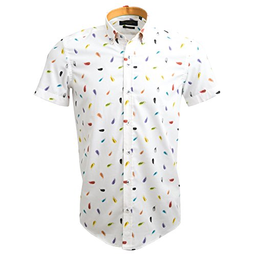 Guide London Men's Cotton Oxford Multi-coloured Leaf Print Fashion Designer Short Sleeve Summer Shirt HS2278 2xlarge White by Guide London