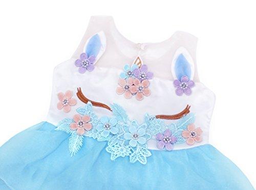 Pour Fleur Licorne Tutu Princesse Partie Mariage De Tulle Habiller 2 Robe Enfants Bleu Robes Filles Fille Amzbarley AqHvH