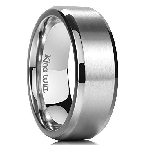 - King Will Basic 8mm Titanium Ring Matte Finished Wedding Band Comfort Fit Beveled Edge 9