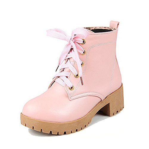 WeenFashion Kitten Heels Pink Soft Toe Up Closed Women's Material Solid Round Lace Boots rqO5nrCE