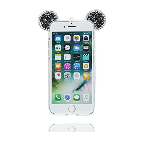 "iPhone 6s Plus Coque Cover Cartoon 3D Oreille de souris, Silicone Light Slim Diamonds Bling Bead Cute iPhone 6 Plus Étui iPhone 6S Plus Case 5.5"" Poussière Poof & stylet"
