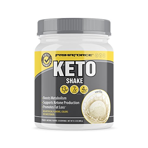 Protein Shake Whipped Vanilla Cream - PrimaForce KetoShake - Keto MCT Meal Replacement - Curbs Appetite / SupportsWeight Loss / Enhances Ketosis - Vanilla, 20 Servings