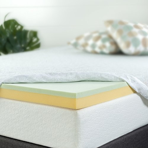 Zinus 3 Inch Green Tea Memory Foam Mattress Topper, (Green Memory Foam Toppers)