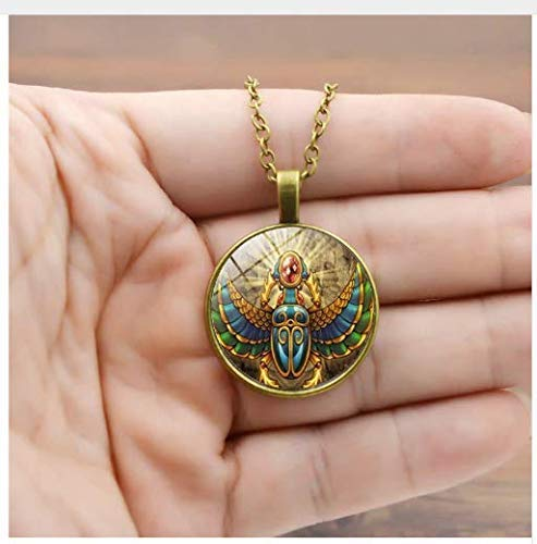 Vintage Egyptian Scarab Necklaces Pendant, Picture Glass Necklace,Women Jewelry Statement Necklace ()