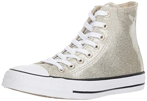 Converse Women's Chuck Taylor All Star Glitter Canvas High Top Sneaker Light Gold/White, 7.5 M US - Leather Sneaker Hi Star