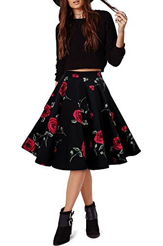 Black-Butterfly-Vintage-Full-Circle-1950s-Floral-Skirt