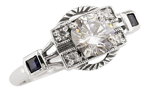 Art Deco Style Sterling Silver .85ct Cubic Zirconia and Sapphire Ring (sz (Art Deco Style Engagement Ring)