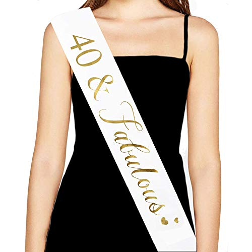 40th Birthday Sash, 40th Birthday Decorations Gifts, Supplies and Party Favors (White) ()