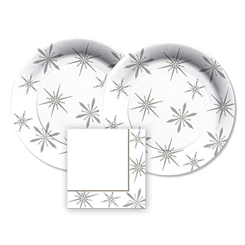 CR Gibson, 16 Servings, Lenox Federal Snowflake Paper Dessert or Appetizer Plates With Metallic Accents and Paper Beverage Napkins, Bundle- 3 Items ()