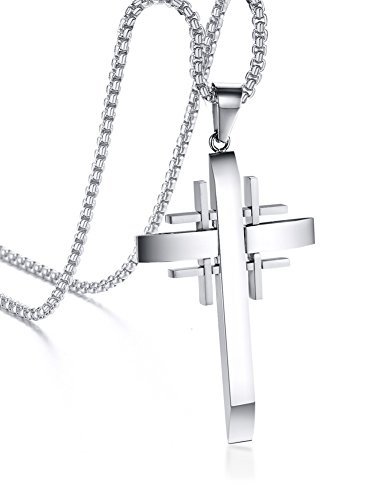 Men's Stainless Steel Jerusalem Crusaders Cross Christ Pendant Necklace Silver,Free Chain