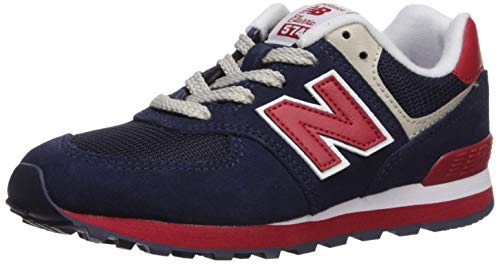 New Balance Boys' Iconic 574 V1 Running Shoe, Navy/RED, 1 M US Little Kid